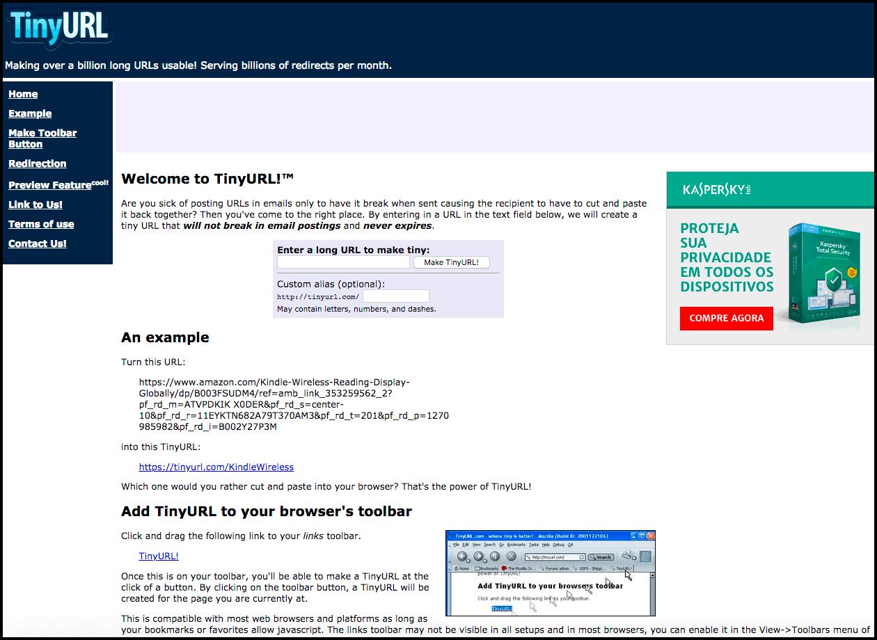 TinyURL - Um dos encurtadores de links mais antigos da web!