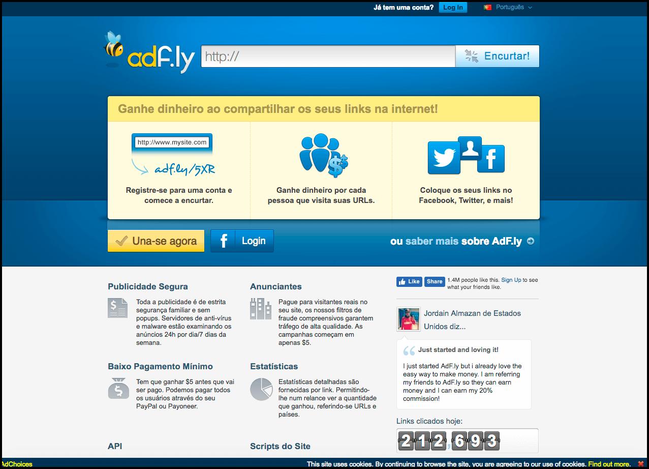 AdFly - Ganhe dinheiro com seus links encurtados