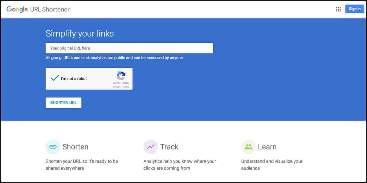 Goo.gl - Encurtador de links do Google