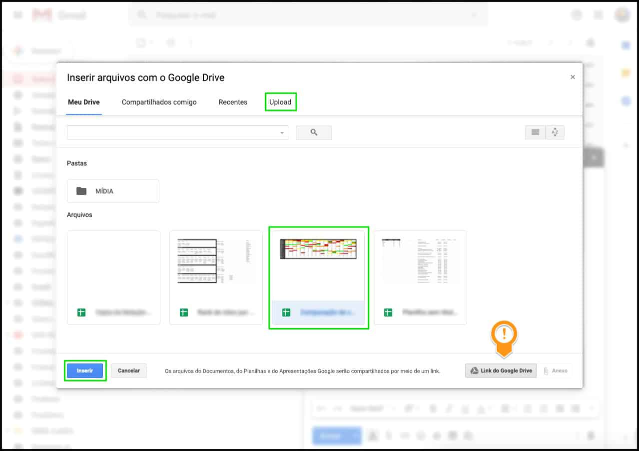 Inserir arquivos do Google Drive no email do Gmail