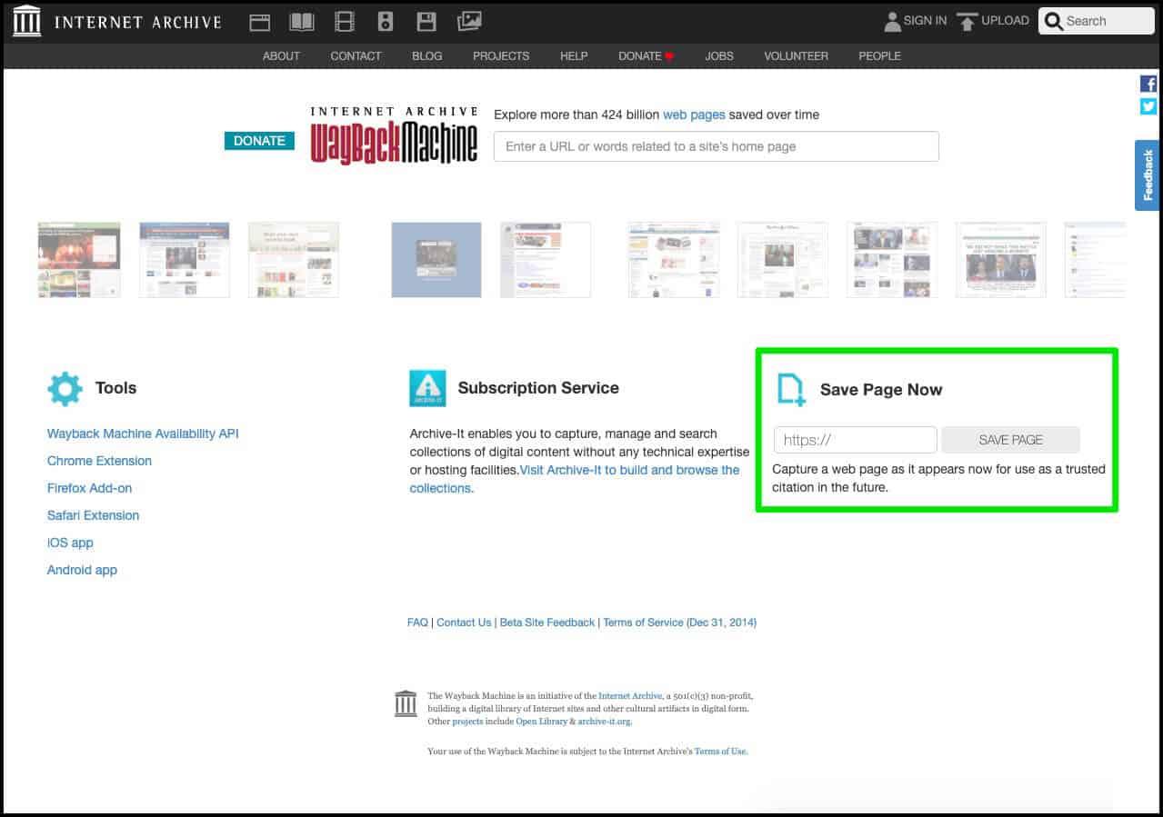 Como salvar uma página no Wayback Machine?