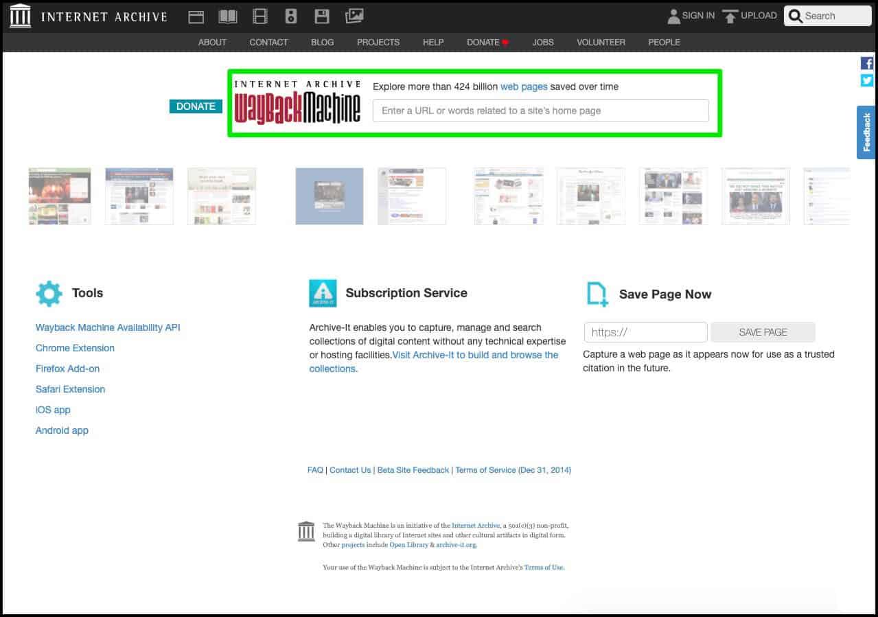 Como pesquisar um site no Wayback Machine para ve-lo no passado